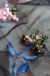 Broderie a l aiguille perles fil soie